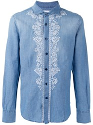 Ermanno Scervino Embroidered Panel Buttoned Shirt Blue