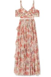 Needle And Thread Titania Cold Shoulder Ruffled Floral Print Tulle Gown Pink