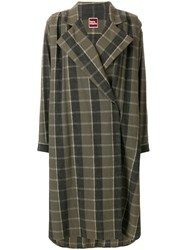 Issey Miyake Vintage Oversize Check Coat Green