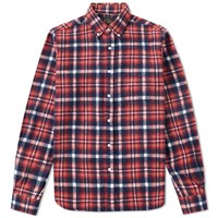 Beams Plus Button Down Shaggy Check Shirt Red