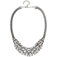 Adele Marie Oval Mesh Rope Diamante Collar Necklace Silver