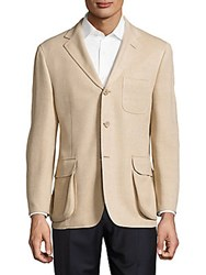 Hickey Freeman Silk Blend Textured Jacket Gold