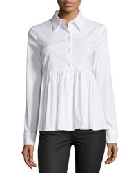 Michael Kors Long Sleeve Button Front Shirt Optic White