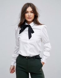 Parisian Shirt With Ruched Sleeve And Contrast Tie Neck White