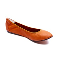 Cocorose London Dalston Orange Leather Foldable Ballerina