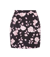 Alessandra Rich Floral Printed Faille Miniskirt Black