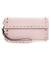 Valentino Rockstud Leather Clutch Pink
