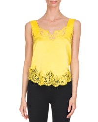 Givenchy Lace Trim Silk Cami Top Yellow