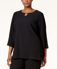 Jm Collection Plus Size Embellished Boxy Top Only At Macy's Deep Black
