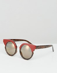 Asos Round Sunglasses With Cut Away And Built Up Frame Red