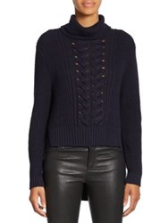 N Nicholas Cable Knit Cotton Turtleneck Sweater Navy