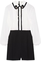 Alice Olivia Kara Embellished Ruffle Trimmed Chiffon And Stretch Silk Crepe Playsuit White