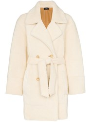 Joseph Jimmy Belted Double Breasted Shearling Coat White