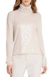 Halston Heritage Sequin Cashmere Turtleneck Buff