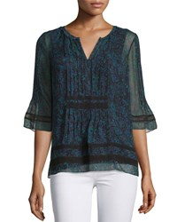Elie Tahari Chantal Half Sleeve Printed Crinkle Chiffon Blouse Cricket