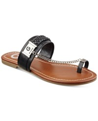 G By Guess Limitt Chained Flat Sandals Women's Shoes Black