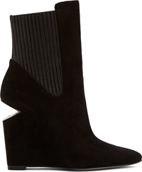 Alexander Wang Black Suede And Silver Cut Out Andie Wedge Boots