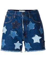Faith Connexion Star Denim Shorts Blue