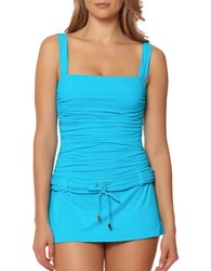 Bleu By Rod Beattie Belted One Piece Swimsuit Aqua
