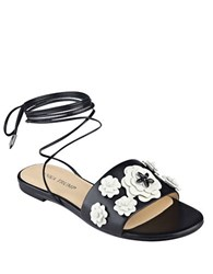 Ivanka Trump Catera Leather Flat Sandals Black