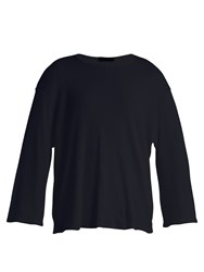 The Row Mildred Fluted Sleeve Cotton T Shirt Navy
