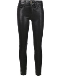 Frame Denim Washed Noir Leather Trousers Black Denim White