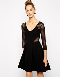 French Connection Liv Skater Dress With Mesh Insert Black