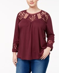 Almost Famous Trendy Plus Size Knit Illusion Top Rose Wine
