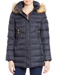 Vince Camuto Faux Fur Trimmed Puffer Jacket Navy Blue