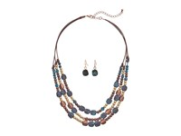Mandf Western Multi Strand Mixed Stone Necklace Earrings Set Copper Patina Jewelry Sets Green