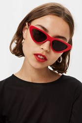 Topshop Pointy Polly Sunglasses Red
