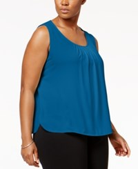 Anne Klein Plus Size Pleated Tank Top Bluebell