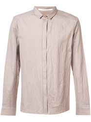 Individual Sentiments Creased Button Down Shirt Brown