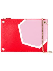 Msgm Chain Handle Clutch Pink Purple
