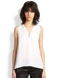 The Kooples Silk Zip Tank White