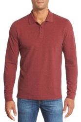 Nordstrom Long Sleeve Pique Cotton Polo Big Red