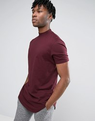 Asos Super Longline T Shirt With Turtle Neck And Curved Hem In Pink Rosewood Red