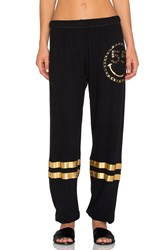 Lauren Moshi Foil Chain Happyface Leg With Stripes Pant Black