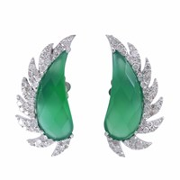 Meghna Jewels Claw Half Moon Studs Green Onyx And Diamonds