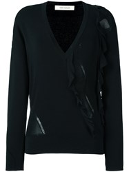Cedric Charlier Ruffled V Neck Jumper Black