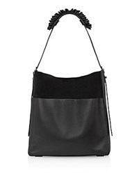 Allsaints Maya North South Leather Tote Black Silver
