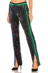 Pam And Gela Sequin Velour Track Pant Blue