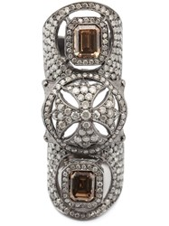 Loree Rodkin Maltese Cross Bondage Diamond Ring Metallic
