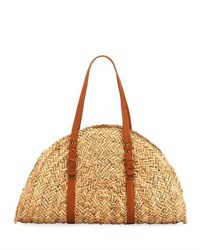 San Diego Hat Company Woven Straw Moon Shape Bag Neutral Pattern