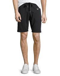 True Religion Contrast Side Stripe Sweat Short Black White