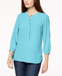 Jm Collection Pleated Back Blouse Created For Macy's Reef Aqua