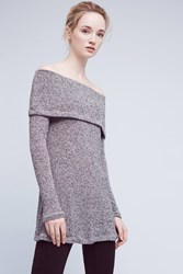 Anthropologie Naples Off The Shoulder Tunic Top Dark Grey