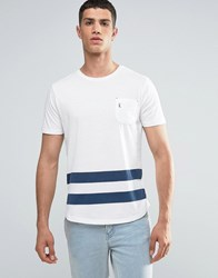 Ringspun Baseball Pocket T Shirt With Curved Hnem White