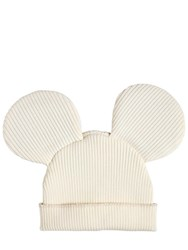 e8896aefbcab9 Comme Des Garcons Mouse Ears Wool Blend Rib Knit Beanie White