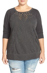 Lucky Brand Textured Sweatshirt Plus Size Lucky Black